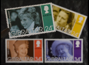 Gibraltar 1996, Mi.Nr. 755-58, Europa: Berümte Frauen, Diana, Anne, Elisabeth