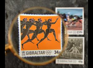 Gibraltar 1996, Nr. 763-65, 100 Jahre Olympische Spiele der Neuzeit, Läufer ...
