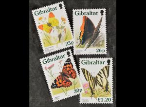Gibraltar 1997, 793-96, Schmetterlinge; Aurorafalter, Distelfalter, Segelfalter