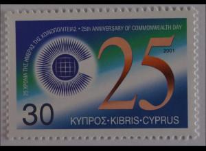 Zypern griechisch 2001, Michel Nr. 975, 100 Jahre Commonwealth-Tag