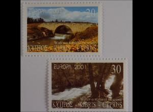 Zypern griechisch 2001, Michel Nr. 976-77, Europa: Lebenssprender Wasser, Akaki