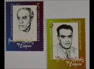 Zypern griechisch 2004, Michel Nr. 1047-48, Persönlichkeiten, Chourmouzios, ...