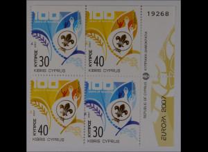 Zypern griechisch 2007, Nr. 1096-97 Do/Du, Europa: Pfadfinder; 4 Werte aus MH
