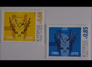 Zypern griechisch Cyprus 2010, Michel Nr. 1172-73, 50 Jahre Republik Zypern