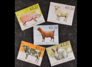 Zypern griechisch Cyprus 2010, Mi. Nr. 1174-78, Haustiere (II): Säugetiere, Kuh