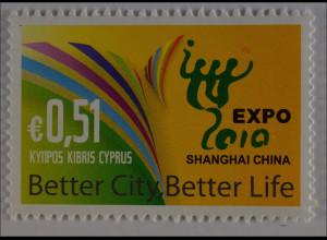 Zypern griechisch 2010 Michel Nr. 1180 Weltausstellung EXPO 2010 Shanghai