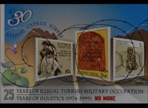 Zypern griechisch Cyprus 1999 Block 21 25 Jahre türkische Besetzung Nordzyperns