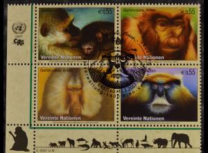 Vereinte Nationen UNO UN Wien 2007 Nr. 485-88 Gefährdete Arten Primaten