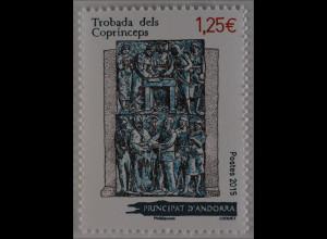 Andorra französisch 2015 Michel Nr. 789 Treffen der Fürsten Coprinceps Gemälde