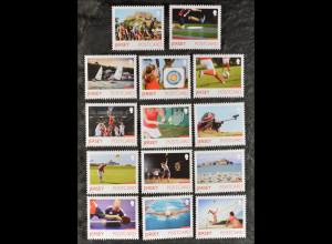 Jersey 2015, Michel Nr. 1928-41, Inselspiele: Radfahren, Surfen, Bogenschießen