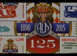 Monako Monaco 2015 Block 114 125 Jahre Automobil Club Rennsportwagen
