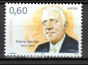 Luxemburg 2013 Michel Nr. 1986 100. Geburtstag von Pierre Werner,Premiermin.