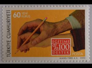 Türkei 2006, Michel Nr. 3503, Unterricht; Erwachsenenhand hilft Kinderhand