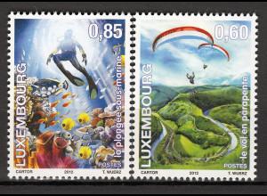 Luxemburg 2012 Mi. Nr. 1947-48 Spaß und Freiheit Paragliding Tauchen