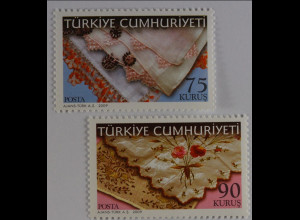 Türkei 2009, Michel Nr. 3766-67, Traditionelles Handwerk; türk. Rändelstickerei
