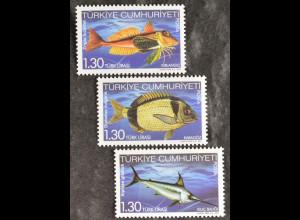 Türkei Turkey 2011, Mi.Nr. 3877-79, Fische aus heimischen Gewässern, Knurrhahn