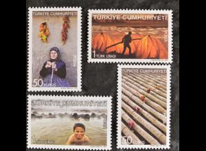 Türkei Turkey 2011, Nr. 3925-28, Bäuerin mit Stock, getrocknete Paprikaschoten