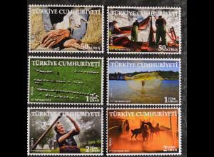 Türkei Turkey 2012, Nr. 3991-96, Mensch+Landwirtschaft, Pferde b.Sonnenaufgang.