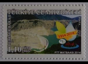 Türkei 2014, Mi-Nr. 4101, Deriner-Talsperre am Fluss Coruh, 80 J. Wasserwerk