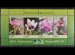 Türkei Turkey 2010, Block 72, Internationales Jahr der Biodiversität - Blumen