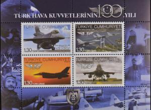 Türkei Turkey 2011, Block 79, 100 Jahre Luftwaffe - Flugzeuge, Ajans-Türk A.S.
