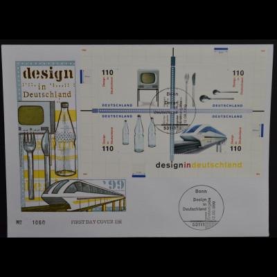 Bund BRD Germany Ersttagsbrief FDC Block Nr. 50, Design i.Deutschland, 12.8.1999