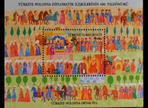 Türkei Turkey 2014, Block 126, 600 Jahre diplomatische Beziehungen mit Polen