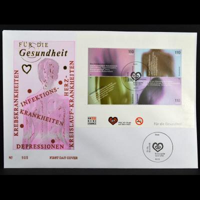 Bund BRD Germany Ersttagsbrief FDC Block Nr. 54 Für die Gesundheit 12.6.2001