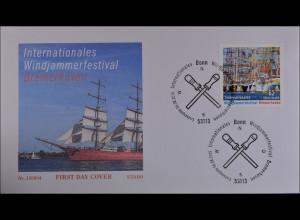 Bund BRD Ersttagsbrief FDC 6. August 2015 Michel Nr. 3172 Windjammerfestival