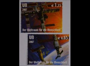 Vereinte Nationen UNO UN Wien 2007 Michel Nr. 518-19 50 Jahre Weltraumfahrt