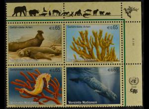 Vereinte Nationen UNO UN Wien 2008 Nr. 526-29 Gefährdete Arten Meerestiere