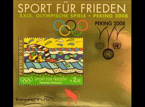 Vereinte Nationen UN UNO Wien 2008 Block 22 I Olympische Sommerspiele Aufdruck