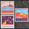 Liechtenstein 2008, Nr. 1475-77, Spoerry-Areal, Vaduz; Schloss Vaduz Monarchie