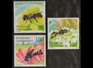 Liechtenstein 2008, Mi.Nr. 1482-84, Schöterich-Mauerbiene, Schmückbiene
