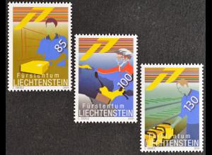 Liechtenstein 2009, Mi.Nr. 1506-08, Unsere Post: Schalterdienst, Zustellung ...