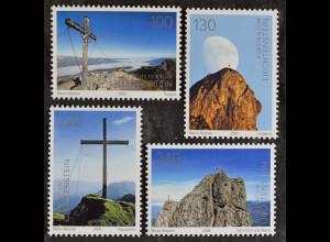 Liechtenstein 2009, Nr. 1514-17, 100 J.Alpenverein; Kuegrat Langspitz Rappastein