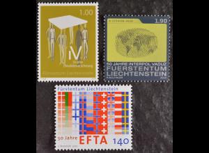 Liechtenstein 2010, Michel Nr. 1560-62, Drei Ausgaben; Anlass: Jahrestage