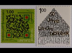 Liechtenstein 2011, Michel Nr. 1580-81, Jahestage, QR-Code, Haus des Wissens