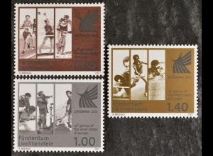 Liechtenstein 2011, Michel Nr. 1582-84, Sportspiele: Laufen, Judo, Schießen ...