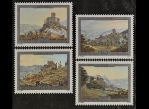 Liechtenstein 2011, Michel Nr. 1610-13, Burg Gutenberg, Ruine in Schellenberg ..
