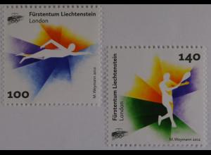 Liechtenstein 2012, Mi.Nr. 1629-30, 20 Jahre Oly. Sportverband: LOSV, Schwimmen