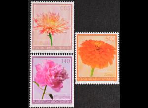 Liechtenstein 2012, Michel Nr. 1633-35, Gartenblumen: Pfingstrose, Zinnie ...