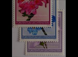 Liechtenstein 2013, Nr. 1679-81, Alpenblumen: Rätischer Enzian, Vergissmeinnicht