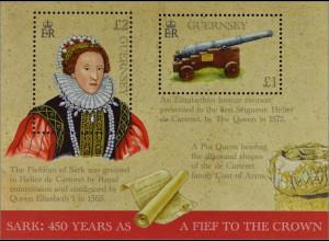 Guernsey 2015, Block 75, SARK - 450 Jahre Lehen an die Krone, Königin Elizabeth