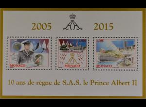 Monako Monaco 2015 Block 115 10 Jahre Regentschaft Prince Albert