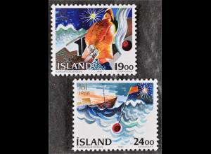 Fischer zu Weihnachten auf See und Schiff auf dem Meer Boje Briefmarken Island