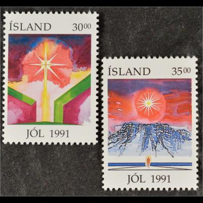 Gemälde von Eirikur Smith Brennende Kerze Leuchtender Stern Briefmarken Island