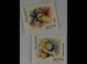Laufen und Handball Briefmarken aus Island 1993 Michel Nr. 780-81