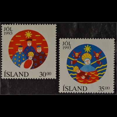 auf isländisch Jól 1993 Briefmarkensatz aus Island