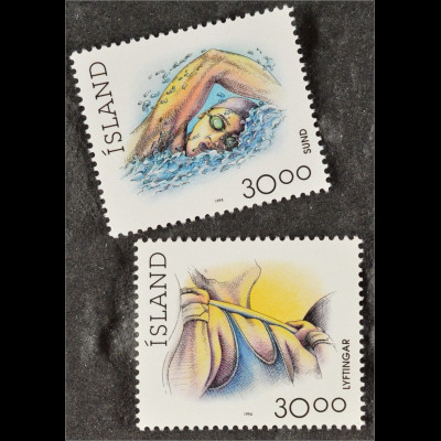 Schwimmen und Gewichtheben Sport Briefmarken Island